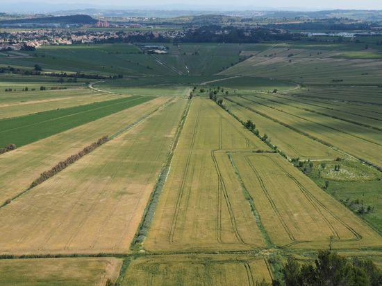 L'étang de Montady depuis l'oppidum d'Ensérune